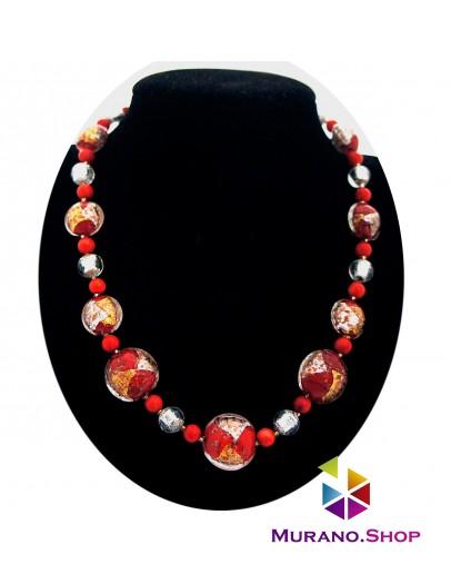 Бусы Rosso Argento красные с серебром
