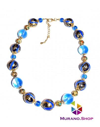 Бусы Арлекино с золотом голубые