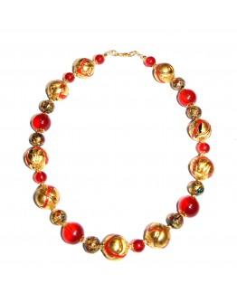 Бусы арлекино с золотом красные