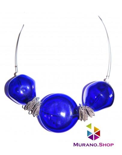 Колье Соффиатто синее с 3 бусинами