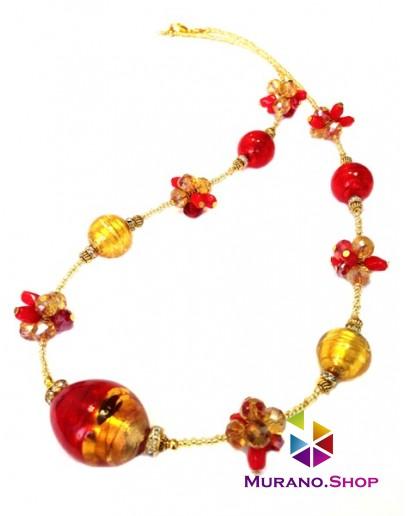 Колье красно-золотая олива