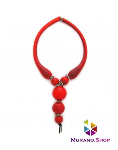 Ожерелье с 5 бусинами красное