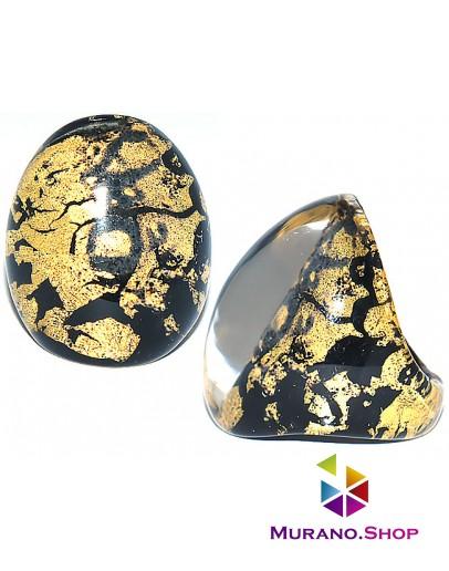Кольцо Кабашон черное с золотом
