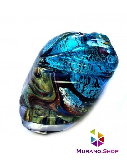 Кольцо голубой камень с узором