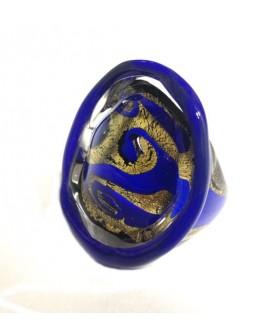 Кольцо Синее с сусальным золотом