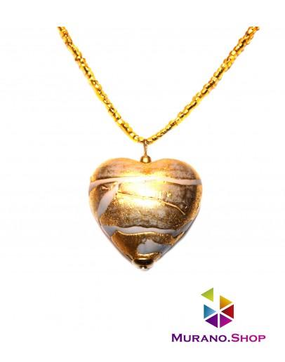 Подвеска сердце с сусальным золотом