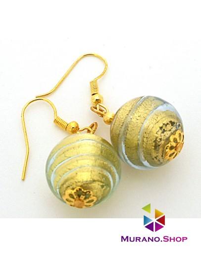 Серьги круглые с золотом