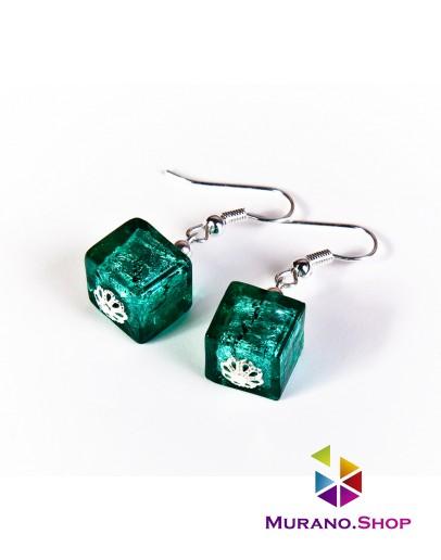 Серьги кубы с серебром