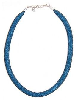 Колье сетка с бисером синяя
